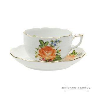 ヘレンド (HEREND) PBR-2 ペティーローズ ブーケ ティーカップ&ソーサー724 オレンジ