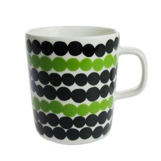 マリメッコ (marimekko) SIIRTOLAPUUTARHA シイルトラプータルハ マグカップ ホワイト×ブラック×グリーン