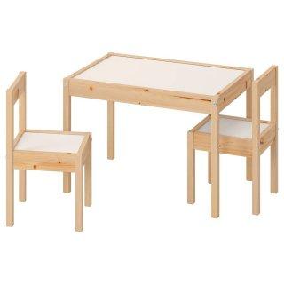 IKEA イケア 子供用テーブル チェア2 脚付 ホワイト パイン材 10178413 LATT