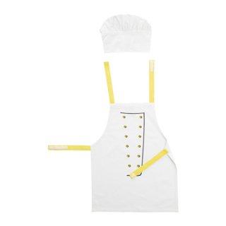 IKEA イケア 子供用エプロン コック帽付き ホワイト イエロー b80300815 TOPPKLOCKA