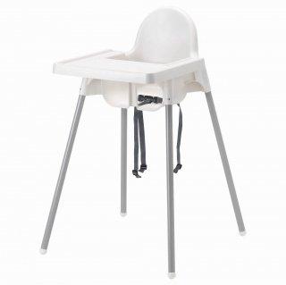 IKEA イケア ハイチェア トレイ付き ホワイト シルバーカラー a49067485 ANTILOP