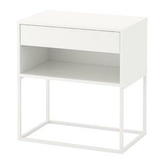 IKEA イケア VIKHAMMER ヴィークハムメル ベッドサイドテーブル ホワイト 60x39cm z10388982