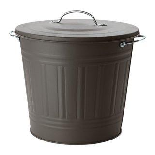IKEA イケア KNODD ふた付きゴミ箱 16L グレー a20312251