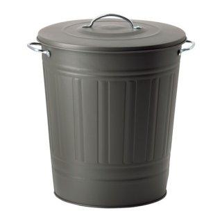 IKEA イケア KNODD ふた付きゴミ箱 40L グレー a50315314
