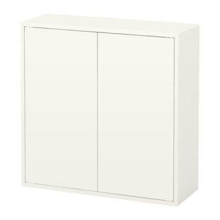 IKEA イケア EKET キャビネット 扉2/棚板2付き ホワイト b10334606
