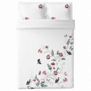 IKEA イケア 掛け布団カバー&枕カバー2枚 ホワイト フローラルパターン ダブルサイズ z70412516 JATTELILJA