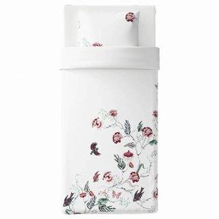 IKEA イケア 掛け布団カバー&枕カバー ホワイト フローラルパターン シングル z80412530 JATTELILJA