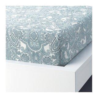 IKEA イケア ボックスシーツ ホワイト ブルー シングル 90x200cm 90x200cmz40410000 JATTEVALLMO