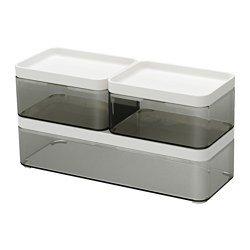 IKEA イケア BROGRUNDボックス3点セット 透明グレー ホワイト z90329093