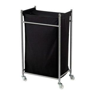 IKEA イケア GRUNDTAL ランドリーバッグ キャスター付き ステンレススチール ブラック a10219300