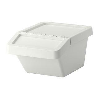 IKEA イケア SORTERA 分別ゴミ箱 37L ふた付 ホワイト a90255898