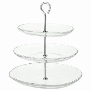 IKEA イケア サービングスタンド 3段 ステンレススチール クリアガラス KVITTERA a70279843