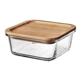 IKEA イケア 保存容器 ふた付き 正方形 ガラス 竹 600ml z69269114 IKEA 365+