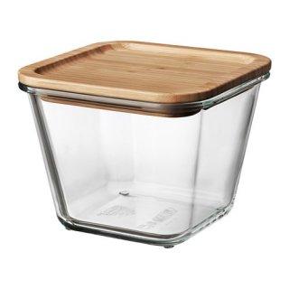 IKEA イケア 保存容器 ふた付き 正方形 ガラス 竹 1.2L z09269112 IKEA 365+
