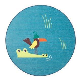 IKEA イケア DJUNGELSKOG ジュンゲルスコグ ラグ 平織り 鳥 ブルー z00393762
