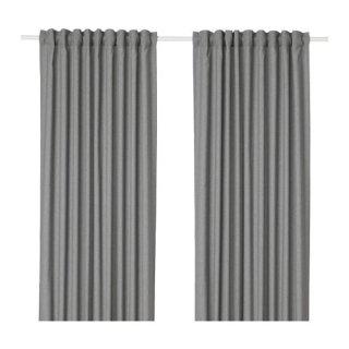 IKEA イケア カーテン 長さ250cm×幅145cm 1組 グレー z70410876 HANNALENA