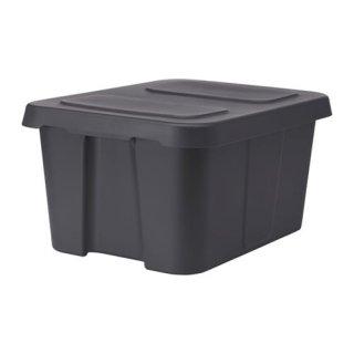 IKEA イケア KLAMTARE ふた付きボックス 室内/屋外用 ダークグレー z90292363