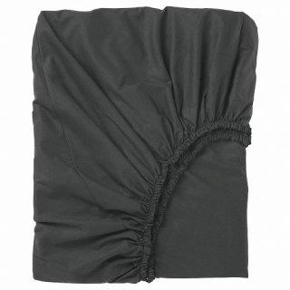 IKEA イケア ボックスシーツ ブラックセミダブル 120x200cm z90396780 DVALA