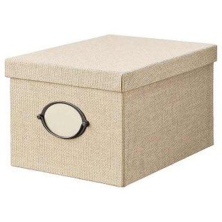 IKEA イケア 収納ボックス ふた付き 25x35x20cm ベージュ n90459485 KVARNVIK