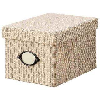 IKEA イケア 収納ボックス ふた付き 18x25x15cm ベージュ n30466870 KVARNVIK