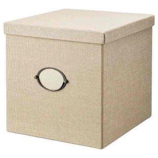IKEA イケア 収納ボックス ふた付き 32x35x32cm ベージュ n50459487 KVARNVIK