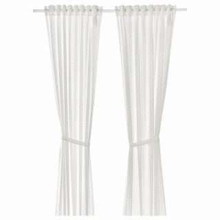 IKEA イケア カーテン タッセル付き 1組 水玉模様 ホワイト 120x250cm n90457636 LEN