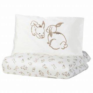 IKEA イケア 掛け布団&枕カバー ベビーベッド用 ウサギ模様 ホワイト ベージュ 110x125cm n10440174 RODHAKE