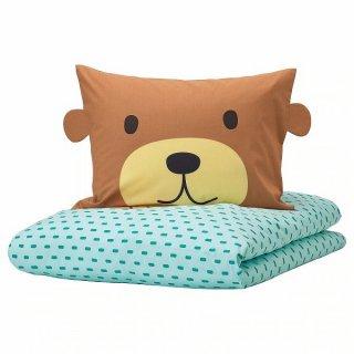 IKEA イケア 掛け布団&枕カバー クマ ターコイズ シングル 150x200cm n30455720 KAPPHAST