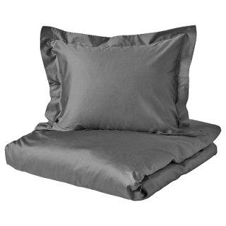 IKEA イケア 掛け布団カバー&枕カバー ダークグレー ダブルサイズ LUKTJASMIN n10442535