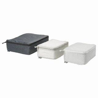 IKEA イケア  衣類用バッグ 3点セット チェック模様 グレー ブラック n40432506 RENSARE