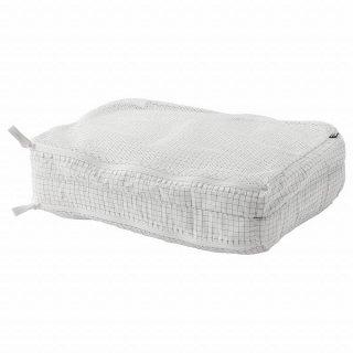 IKEA イケア  衣類用バッグ 仕切り付き チェック模様 ホワイト  n30446655 RENSARE