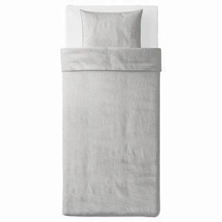 IKEA イケア 掛け布団カバー&枕カバー グレー ストライプ シングル 150x200cm n10423259 BERGPALM ベリパルム