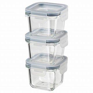 IKEA イケア 保存容器 ふた付き 正方形 ガラス 180ml 3 ピース n40444948 IKEA 365+
