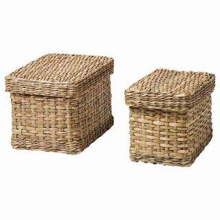 IKEA イケア ふた付きボックス2個セット シーグラス n20481833 LURPASSA
