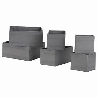 IKEA イケア ボックス 6点セット ダークグレー n00472957 SKUBB