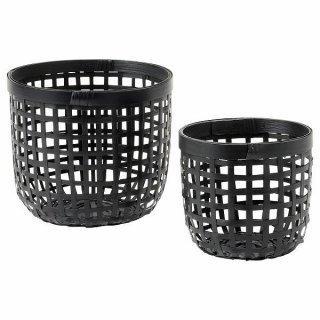IKEA イケア バスケット 2点セット ブラック 竹 n60457421 LUSTIGKURRE