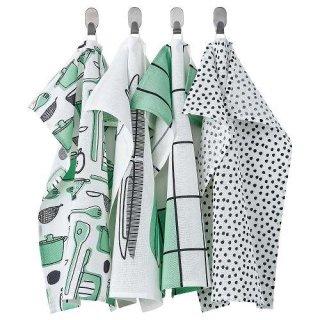 IKEA イケア キッチンクロス ホワイト グリーン 模様入り 45x60cm n90476357 RINNIG