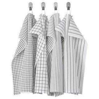 IKEA イケア キッチンクロス ホワイト ダークグレー 模様入り 45x60cm 4ピース n80476348 RINNIG
