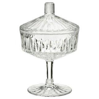 IKEA イケア ふた付きボウル クリアガラス 模様入り 10cm n60473322 SALLSKAPLIG