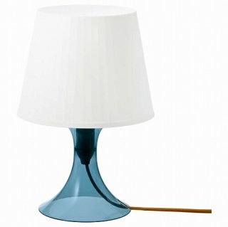 IKEA イケア テーブルランプ ダークブルー ホワイト 29cm n60484085 LAMPAN