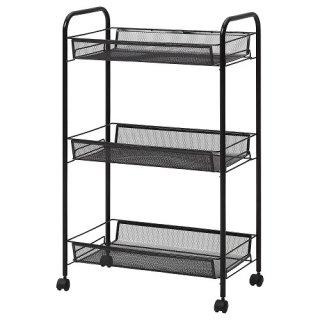 IKEA イケア ワゴン ブラック 26x48x77cm m20494779 HORNAVAN