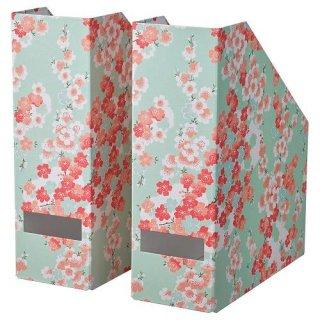 IKEA イケア マガジンファイル フラワー ライトグリーン 2ピース m10477025 TJENA
