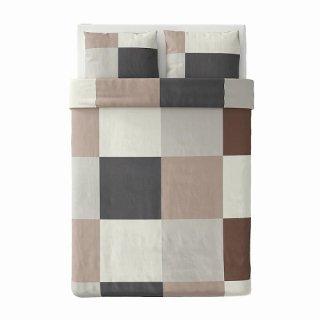 IKEA イケア 掛け布団カバー&枕カバー ブラウン ダブル 200x200cm m20490696 BRUNKRISSLA