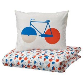 IKEA イケア 掛け布団カバー&枕カバー 自転車 シングル 150x200cm m50495701 SPORTSLIG