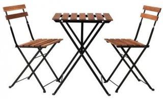 セット商品 IKEA イケア TARNO 折りたたみ式テーブル&チェア2脚 屋外用 アカシア材 ブラウンステイン 80165129s00165128x2
