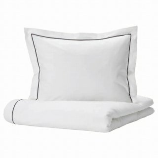 IKEA イケア 掛け布団カバー&枕カバー ホワイト ダークグレー シングル 150x200cm 50x60cm m90492970 SILVERTISTEL