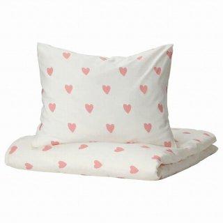 IKEA イケア 掛け布団カバー&枕カバー ハート模様 ホワイト ピンク シングル 150x200cm 50x60cm m40504367 BARNDROM