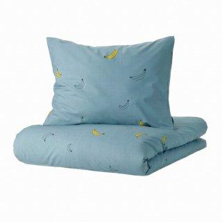 IKEA イケア 掛け布団カバー&枕カバー バナナ模様 ブルー シングル 150x200cm 50x60cm m90504708 VANKRETS