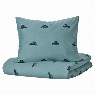 IKEA イケア 掛け布団カバー&枕カバー 車模様 ブルー シングル 150x200cm 50x60cm m90504379 BARNDROM