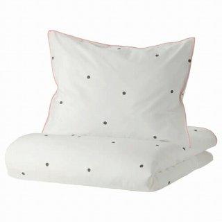 IKEA イケア 掛け布団カバー&枕カバー 水玉模様 ホワイト ピンク シングル 150x200cm 50x60cm m90504727 VANKRETS